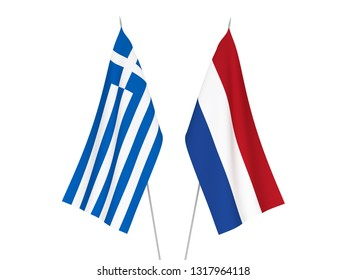 National fabric flags of Greece and Netherlands isolated on white background. 3d rendering illustration.