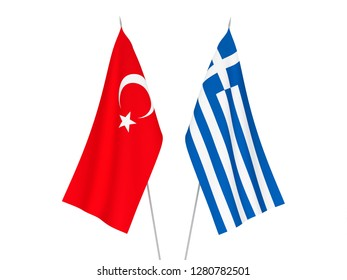 National fabric flags of Greece and Turkey isolated on white background. 3d rendering illustration.