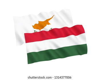 National fabric flags of Hungary and Cyprus isolated on white background. 3d rendering illustration. 1 to 2 proportion.
