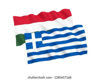 National fabric flags of Hungary and Greece isolated on white background. 3d rendering illustration.