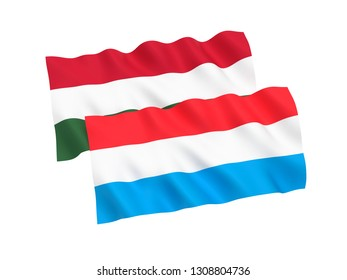 National fabric flags of Hungary and Luxembourg isolated on white background. 3d rendering illustration. 1 to 2 proportion.