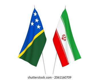National fabric flags of Iran and Solomon Islands isolated on white background. 3d rendering illustration.