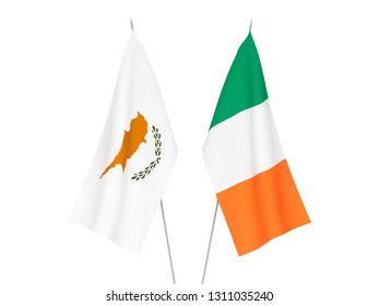 National fabric flags of Ireland and Cyprus isolated on white background. 3d rendering illustration.