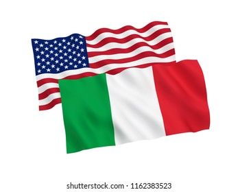 National fabric flags of Italy and America isolated on white background. 3d rendering illustration.