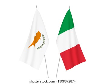 National fabric flags of Italy and Cyprus isolated on white background. 3d rendering illustration.