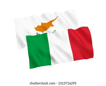 National fabric flags of Italy and Cyprus isolated on white background. 3d rendering illustration. 1 to 2 proportion.