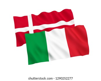 National fabric flags of Italy and Denmark isolated on white background. 3d rendering illustration.