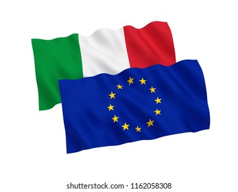 National fabric flags of Italy and European Union isolated on white background. 3d rendering illustration.