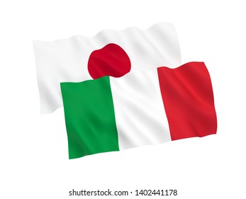 National fabric flags of Italy and Japan isolated on white background. 3d rendering illustration. 1 to 2 proportion.