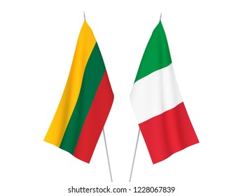 National fabric flags of Italy and Lithuania isolated on white background. 3d rendering illustration.