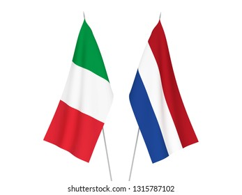 National fabric flags of Italy and Netherlands isolated on white background. 3d rendering illustration.
