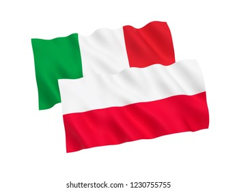 National fabric flags of Italy and Poland isolated on white background. 3d rendering illustration.