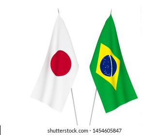 National fabric flags of Japan and Brazil isolated on white background. 3d rendering illustration.