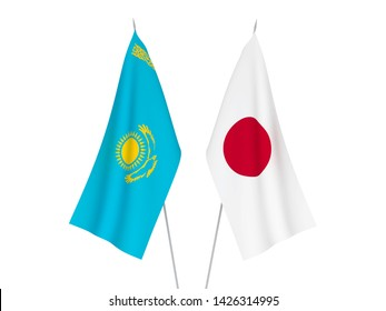 National fabric flags of Japan and Kazakhstan isolated on white background. 3d rendering illustration.