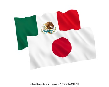 National fabric flags of Japan and Mexico isolated on white background. 3d rendering illustration. Proportion 1:2