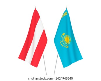National fabric flags of Kazakhstan and Austria isolated on white background. 3d rendering illustration.
