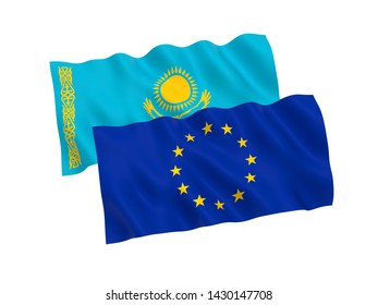 National fabric flags of Kazakhstan and European Union isolated on white background. 3d rendering illustration. 1 to 2 proportion.