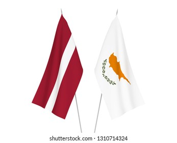 National fabric flags of Latvia and Cyprus isolated on white background. 3d rendering illustration.