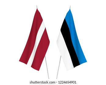 National fabric flags of Latvia and Estonia isolated on white background. 3d rendering illustration.