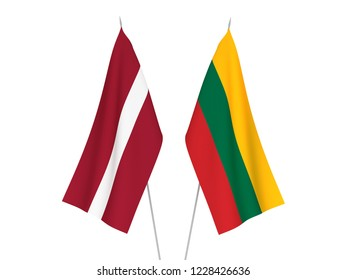 National fabric flags of Latvia and Lithuania isolated on white background. 3d rendering illustration.