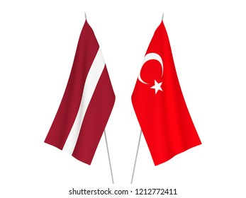 National fabric flags of Latvia and Turkey isolated on white background. 3d rendering illustration.