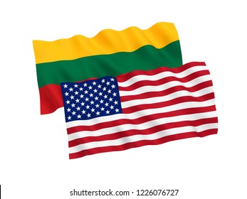 National fabric flags of Lithuania and America isolated on white background. 3d rendering illustration.