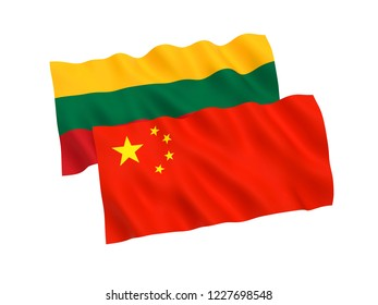 National fabric flags of Lithuania and China isolated on white background. 3d rendering illustration.