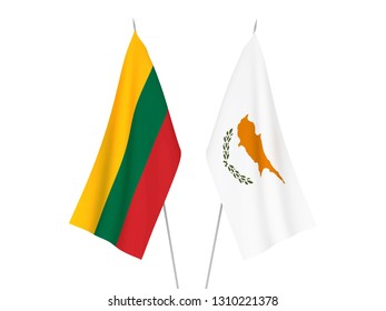 National fabric flags of Lithuania and Cyprus isolated on white background. 3d rendering illustration.