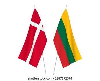 National fabric flags of Lithuania and Denmark isolated on white background. 3d rendering illustration.