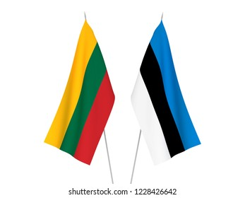 National fabric flags of Lithuania and Estonia isolated on white background. 3d rendering illustration.