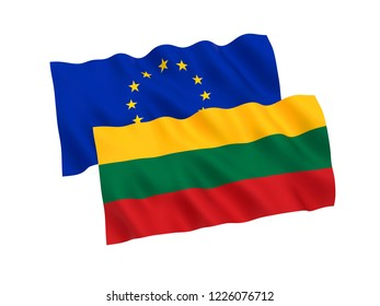 National fabric flags of Lithuania and European Union isolated on white background. 3d rendering illustration.