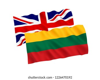 National fabric flags of Lithuania and Great Britain isolated on white background. 3d rendering illustration.