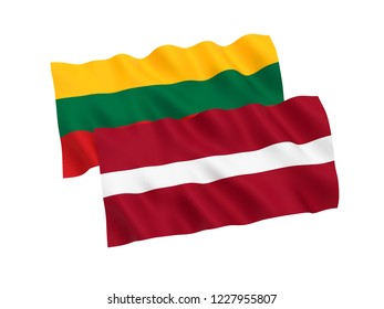 National fabric flags of Lithuania and Latvia isolated on white background. 3d rendering illustration.