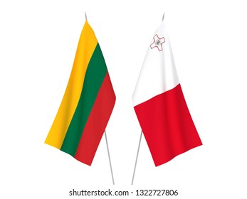 National fabric flags of Lithuania and Malta isolated on white background. 3d rendering illustration.
