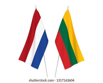 National fabric flags of Lithuania and Netherlands isolated on white background. 3d rendering illustration.