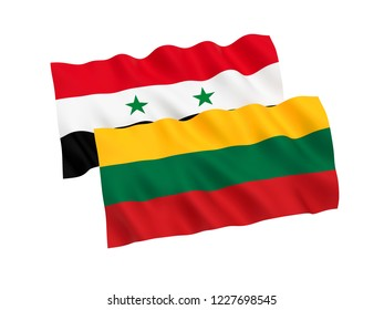 National fabric flags of Lithuania and Syria isolated on white background. 3d rendering illustration.