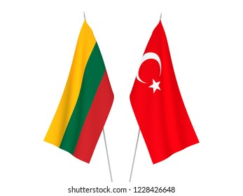 National fabric flags of Lithuania and Turkey isolated on white background. 3d rendering illustration.