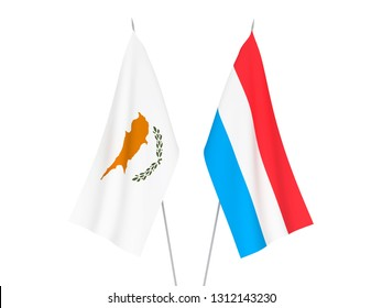 National fabric flags of Luxembourg and Cyprus isolated on white background. 3d rendering illustration.
