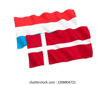 National fabric flags of Luxembourg and Denmark isolated on white background. 3d rendering illustration. 1 to 2 proportion.