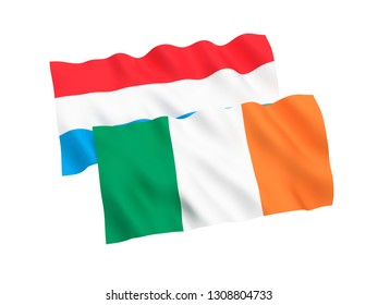 National fabric flags of Luxembourg and Ireland isolated on white background. 3d rendering illustration. 1 to 2 proportion.