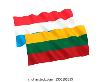 National fabric flags of Luxembourg and Lithuania isolated on white background. 3d rendering illustration. 1 to 2 proportion.