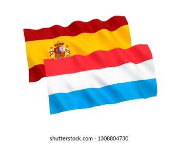 National fabric flags of Luxembourg and Spain isolated on white background. 3d rendering illustration. 1 to 2 proportion.
