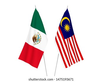 National fabric flags of Malaysia and Mexico isolated on white background. 3d rendering illustration.