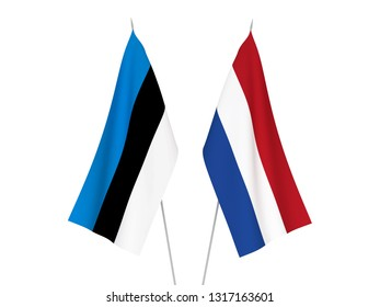 National fabric flags of Netherlands and Estonia isolated on white background. 3d rendering illustration.