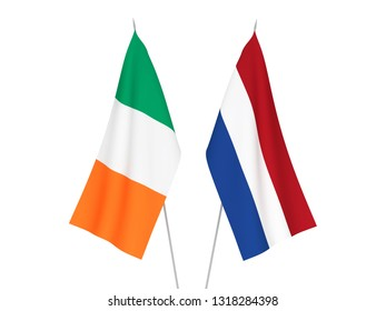 National fabric flags of Netherlands and Ireland isolated on white background. 3d rendering illustration.