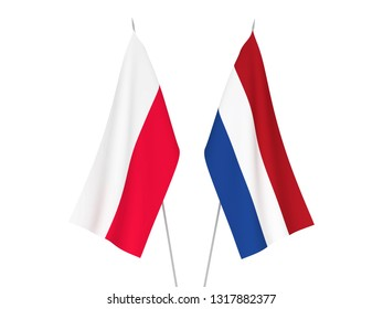 National fabric flags of Netherlands and Poland isolated on white background. 3d rendering illustration.