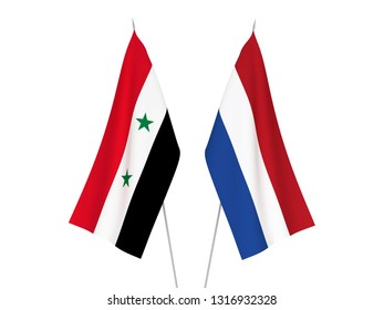 National fabric flags of Netherlands and Syria isolated on white background. 3d rendering illustration.