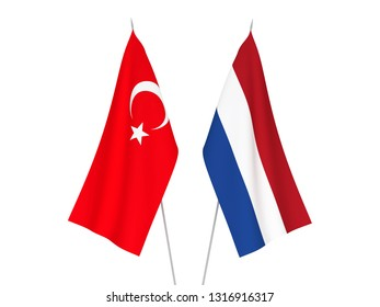 National fabric flags of Netherlands and Turkey isolated on white background. 3d rendering illustration.