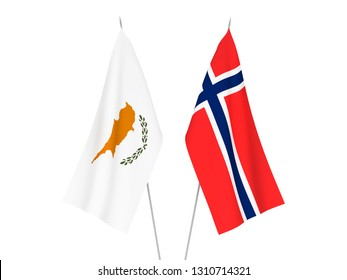 National fabric flags of Norway and Cyprus isolated on white background. 3d rendering illustration.