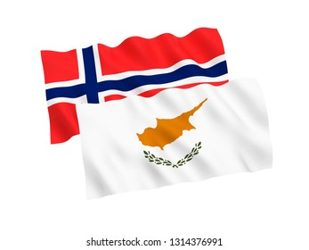 National fabric flags of Norway and Cyprus isolated on white background. 3d rendering illustration. 1 to 2 proportion.